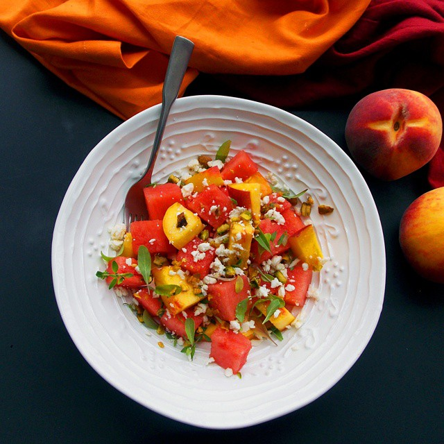 Watermelon, Peach And Feta Salad