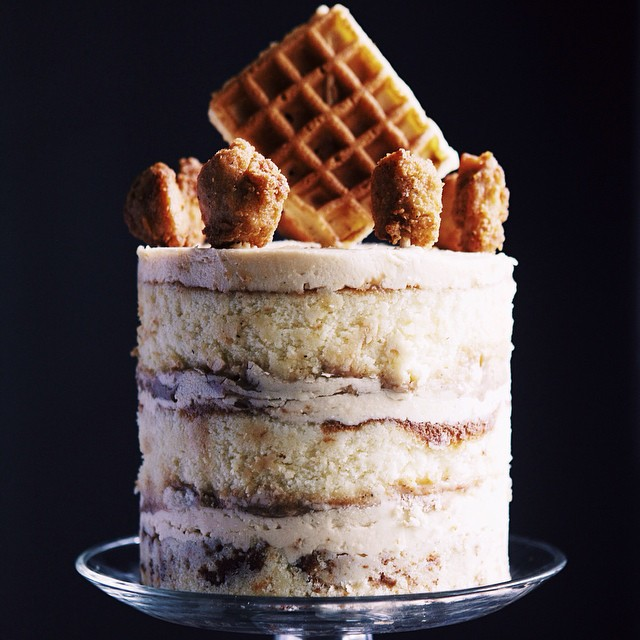 Chicken & Waffles Vanilla Buttercream Cake With Spicy Sage Caramel