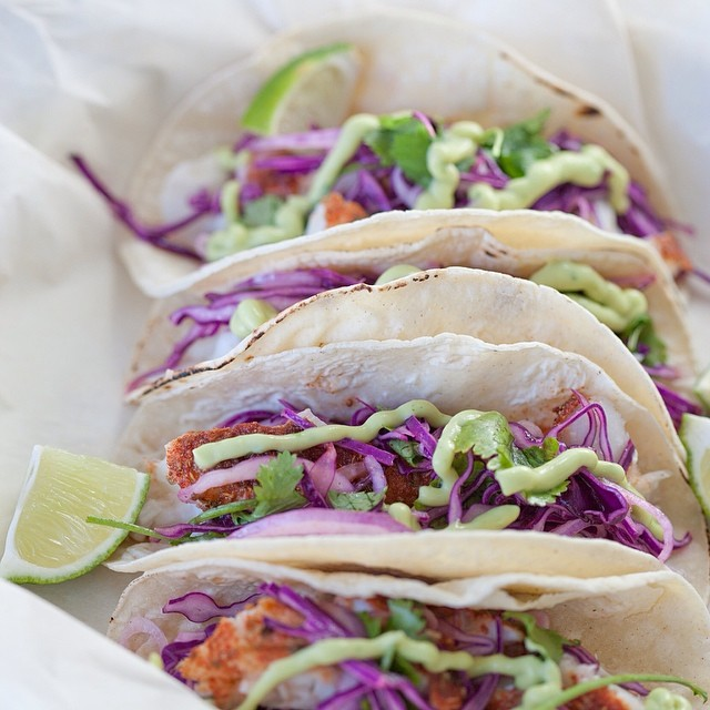 Halibut Tacos With Red Cabbage Slaw