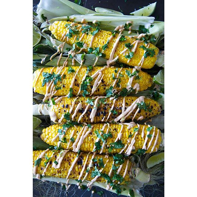Grilled Corn With Spicy Cashew Mayo, Cilantro And Lime