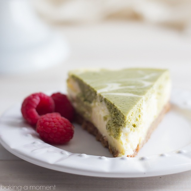 Matcha Swirl Cheesecake With Ginger Cardamon Crust