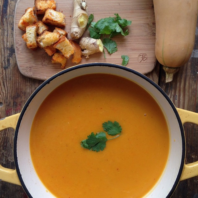 Red Curry Butternut Squash Soup With Ginger & Cilantro