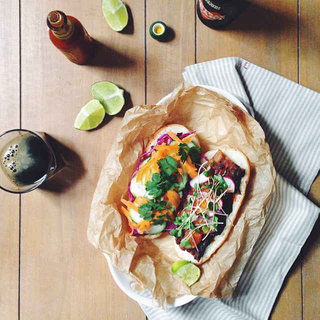 Pork Belly Banh Mi With Carrots, Lime & Fresh Herbs