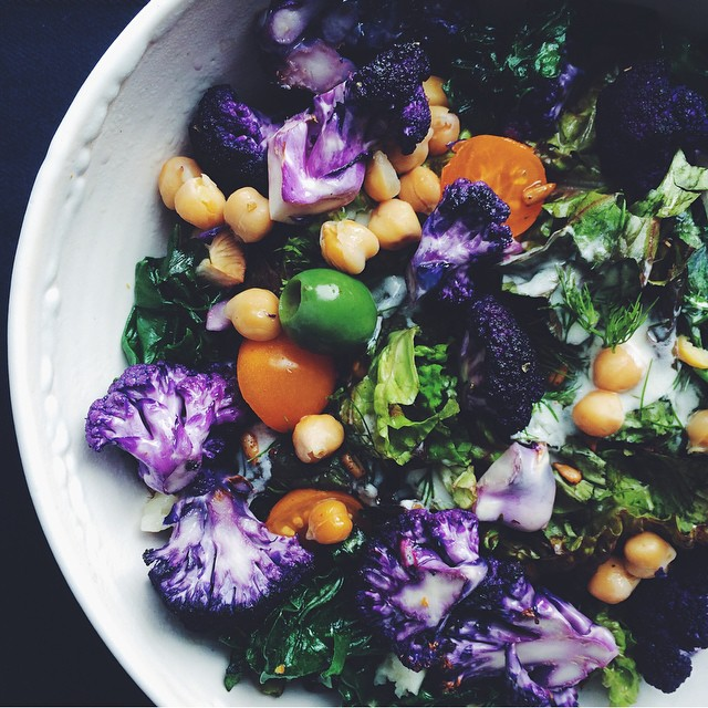 Purple Cauliflower, Chickpea & Kale Salad