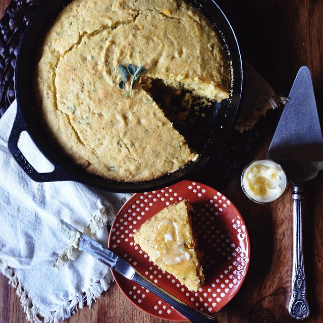 Brown Butter Sage Skillet Cornbread With Creamed Corn