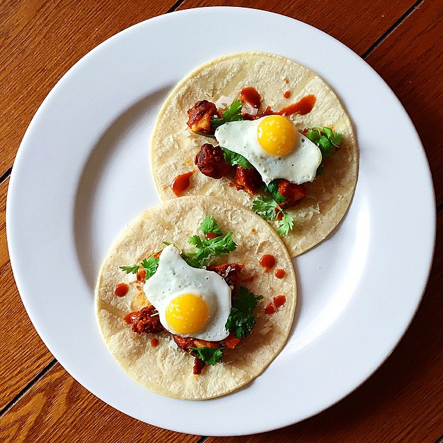 Salted Sunny Side Up Quail Eggs On Corn Tortillas
