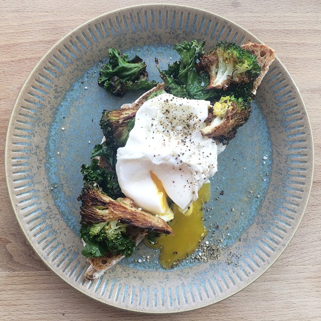 Crispy Kale Toast + Poached Egg