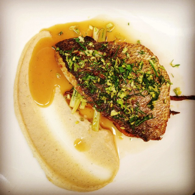 @docktodish sea bream with celery three ways (root purée, pickled crudité, leaf gremolata)…