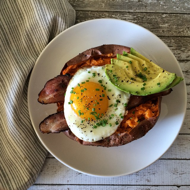 Bacon Wrapped Eggs With Sweet Potato Hash & Avocado