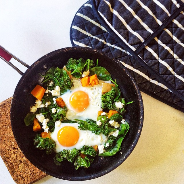 One Pan Eggs With Roast Pumpkin, Kale & Goats Feta