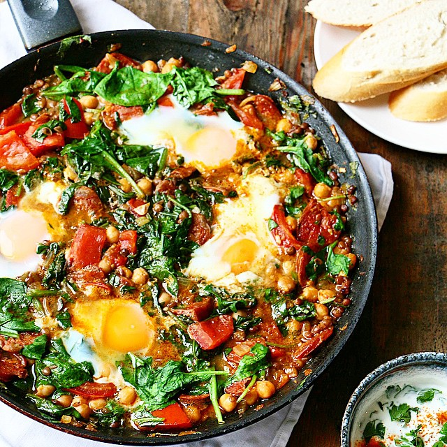Garbanzo Bean And Chorizo Skillet With Spinach And Eggs