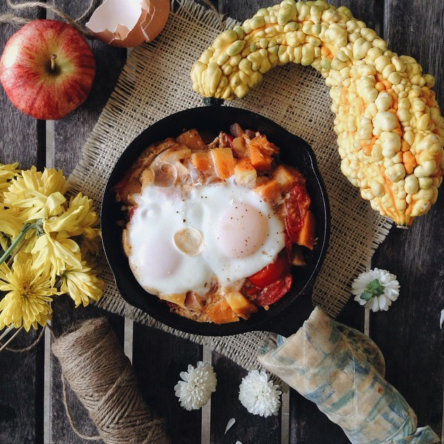 Eggs On Apple, Red Onion, Tomato, And Butternut Squash