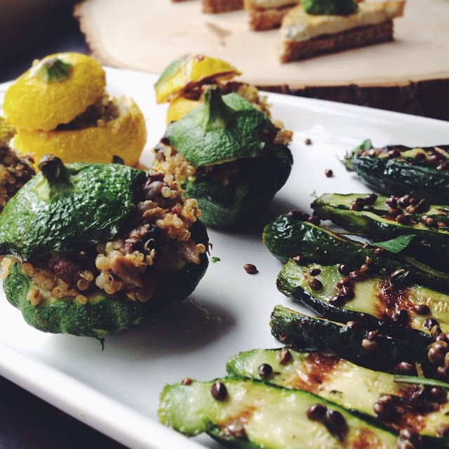 Quinoa Stuffed Baby Squash & Zucchini With Sunflower Seeds & Mushrooms