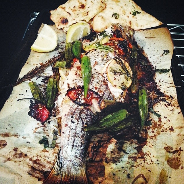 Spice Okra And Herb Roasted Sea Bass