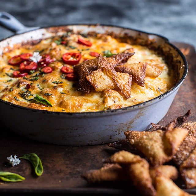 Cheesy Miso Caramelized Corn and Pineapple Chile Dip...cause it is time for football food!