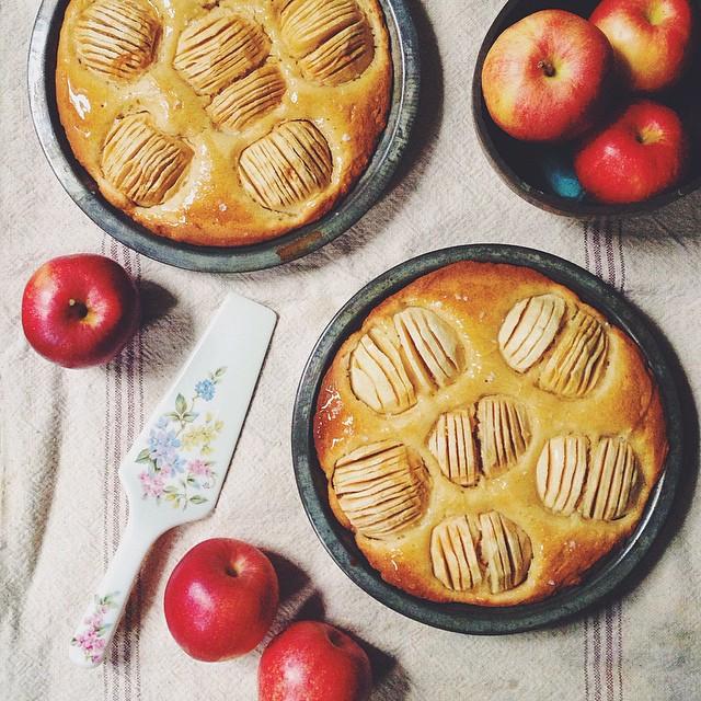 Butter Cake With Apples, Honey Glaze And Maldon Salt