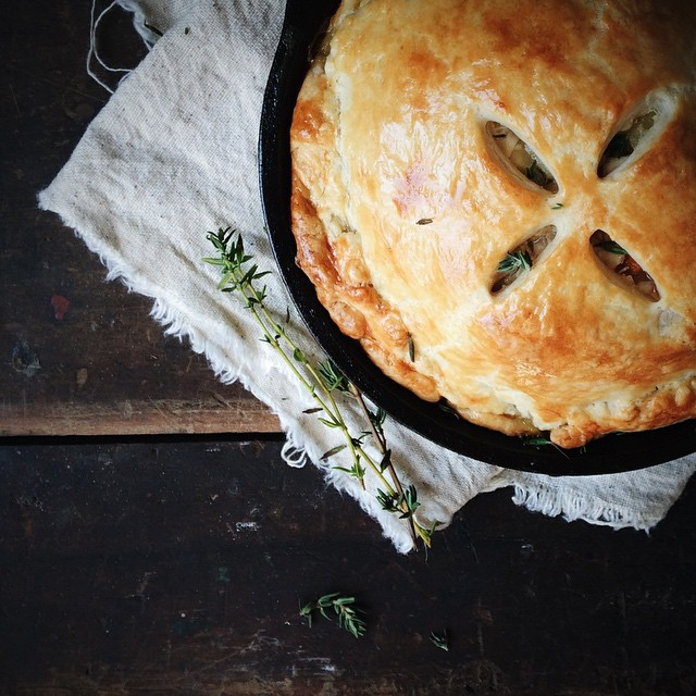 Rainy autumn days call for a cozy cast-iron chicken pot pie...