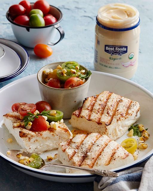 Grilled Halibut With Grilled Corn And Tomato