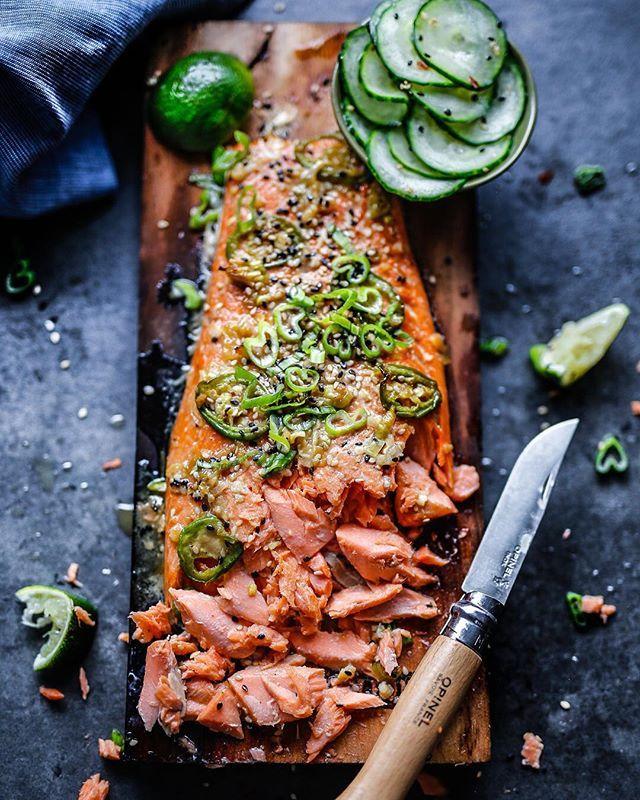 Cedar Plank Sesame and Ginger Salmon