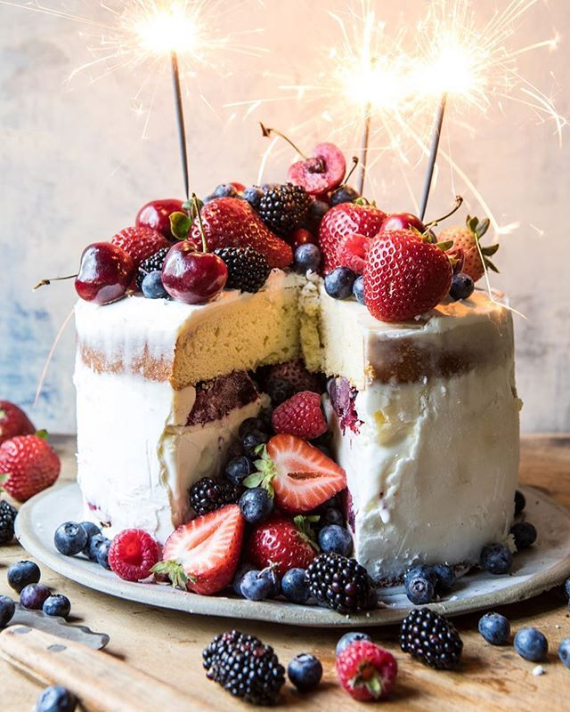Triple Ice Cream Cake with Mixed Berries