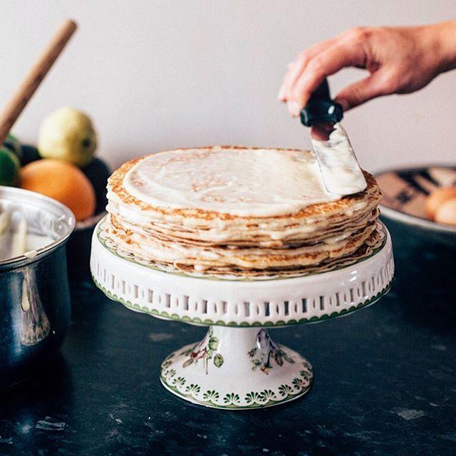 Rhubarb Custard Layered Crepe Cake