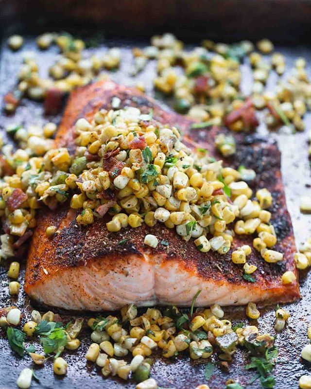 Blackened Salmon with Bacon, Charred Corn and Jalapeño