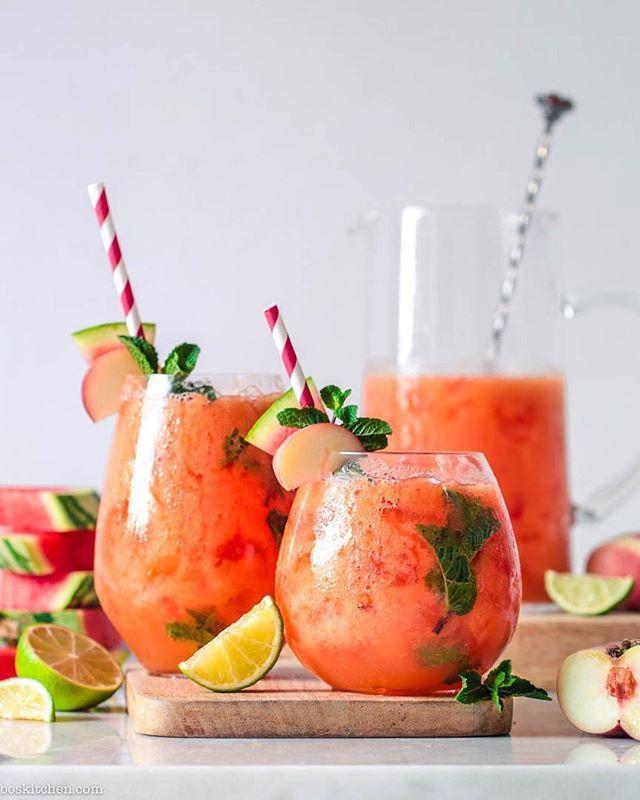 Peach and Watermelon Agua Fresca