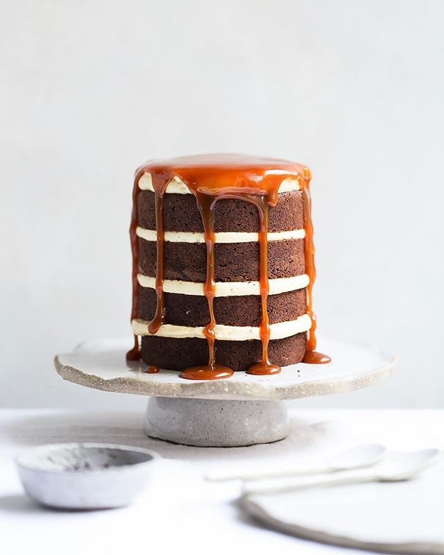 Chocolate Brownie Layer Cake With Salted Caramel By Thepolkadotter Quick Easy Recipe The Feedfeed