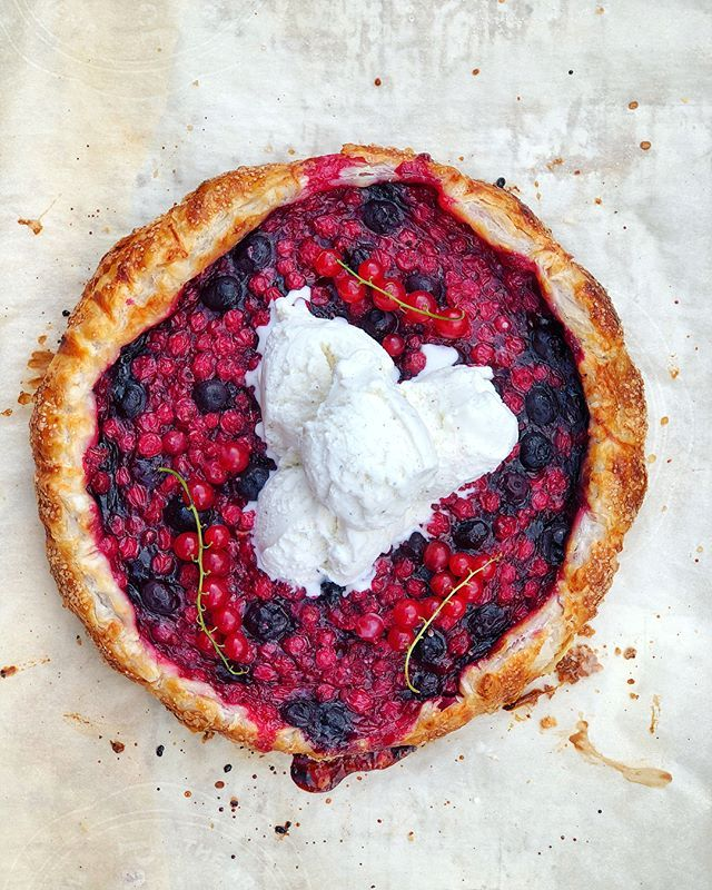 Red Currant and Blueberry Puff Pastry Galette