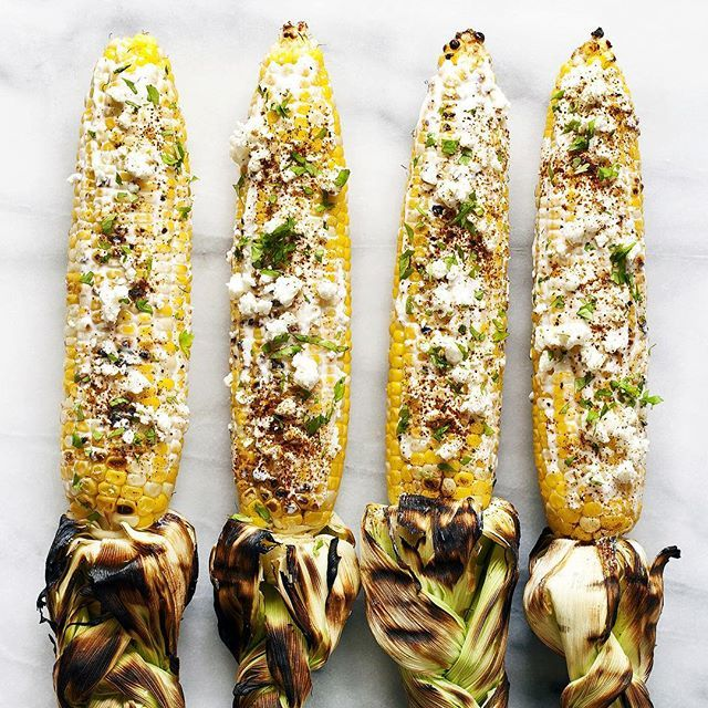 Grilled Corn with Greek Yogurt, Cotija, and Lime