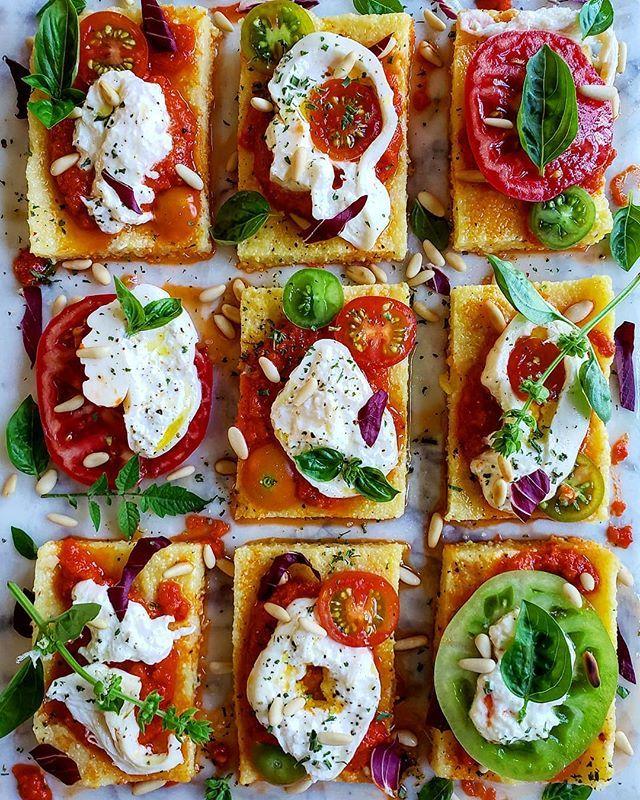 Polenta Squares with Sun Dried Tomato Pesto, Sliced Tomatoes & Burrata