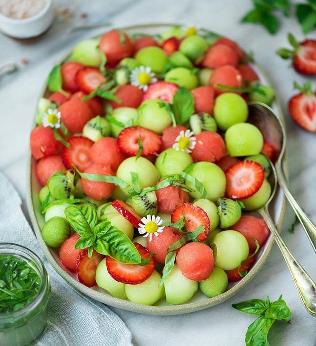 Strawberry Melon Salad with Basil Vinaigrette
