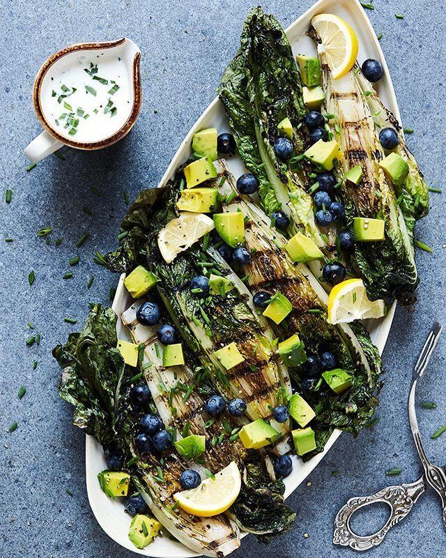 Grilled Romaine Lettuce with Blueberries, Avocado and Creamy Lemon Tarragon Vinaigrette