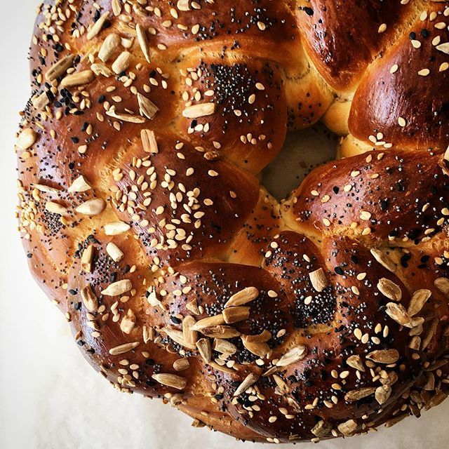 Classic Challah with Poppy Seeds and Sesame Seeds