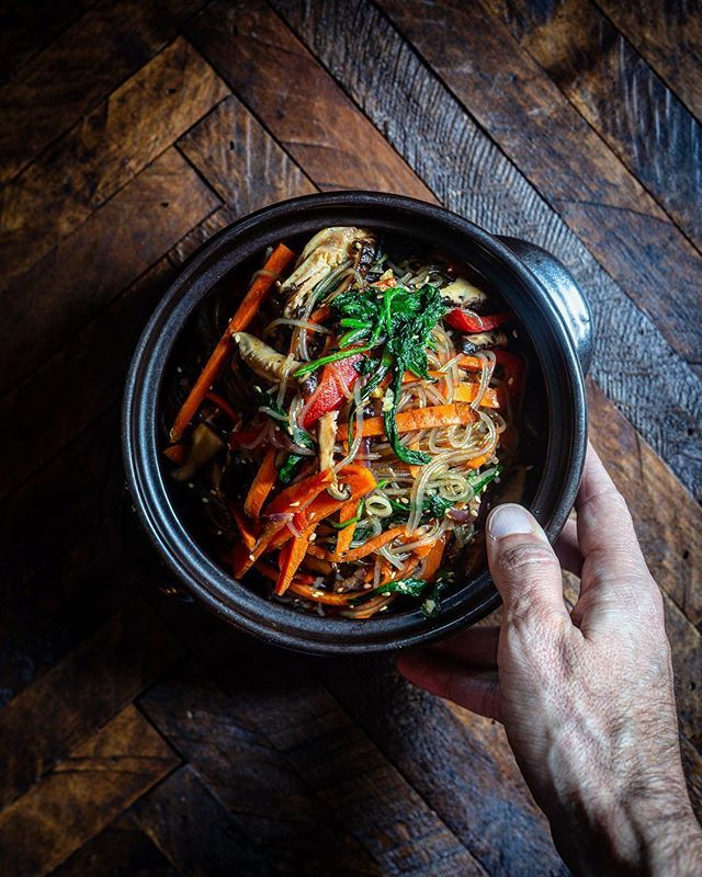 Eggplant, Shiitake and Bell Pepper Japchae