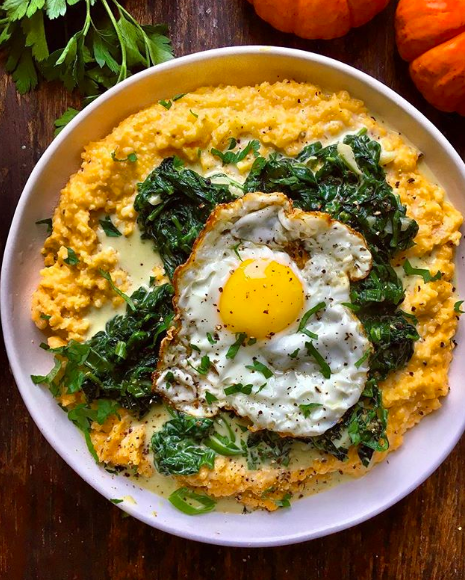 Browned Butter Pumpkin Grits with Creamed Spinach and Fried Egg