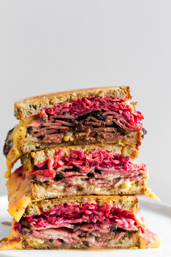 Grilled Pastrami and Root Vegetable Slaw Sandwich