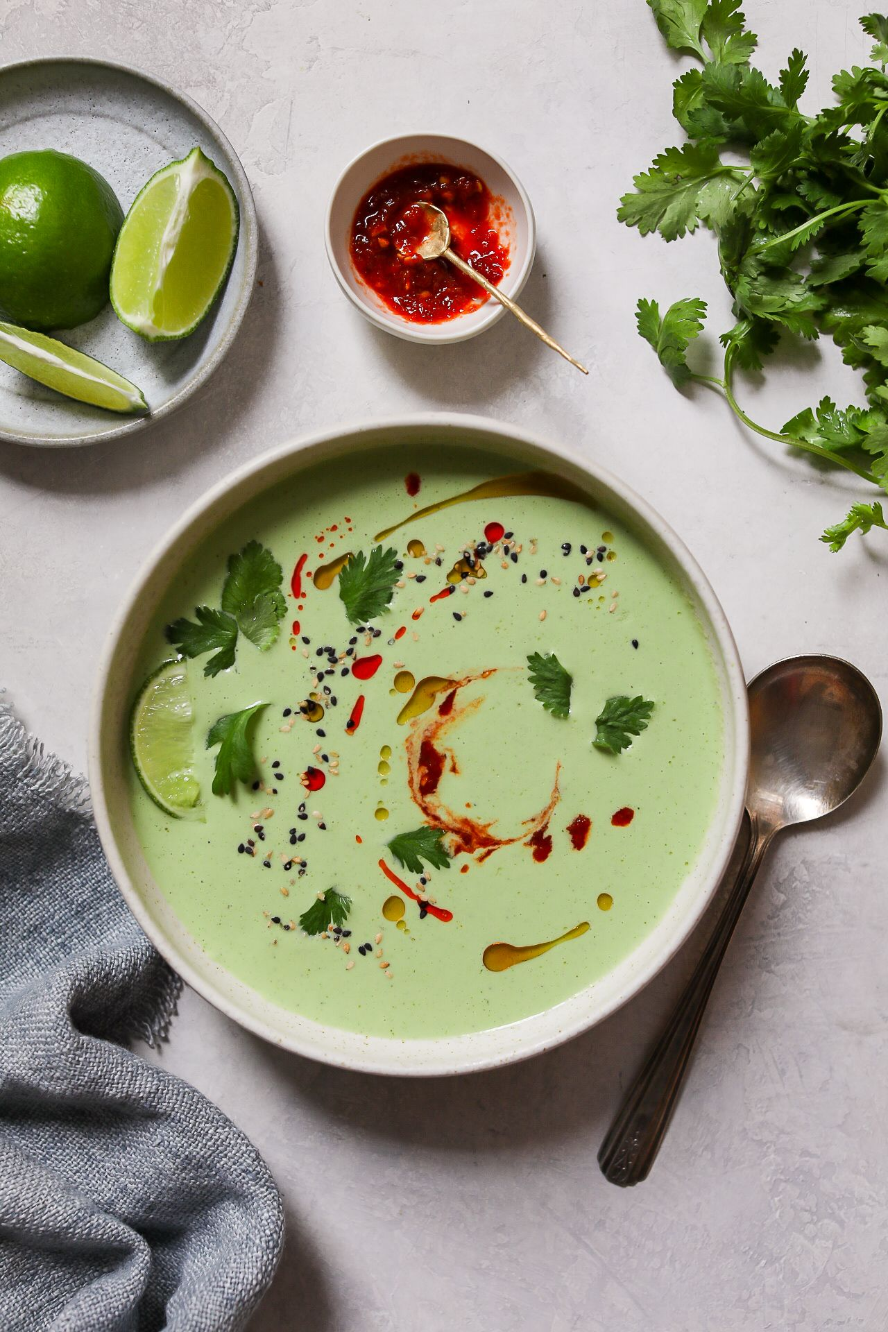 Chilled Cucumber Yogurt Soup with Chili and Lime