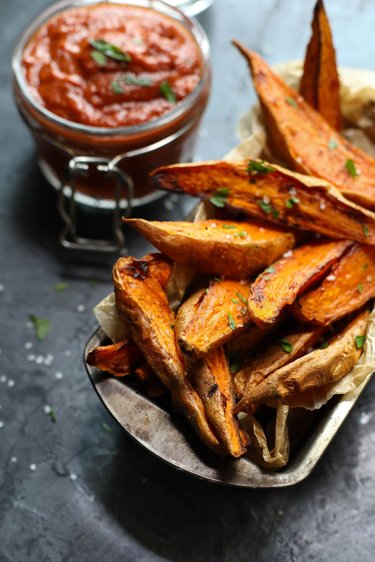 Roasted Sweet Potato Wedges with BBQ Sauce