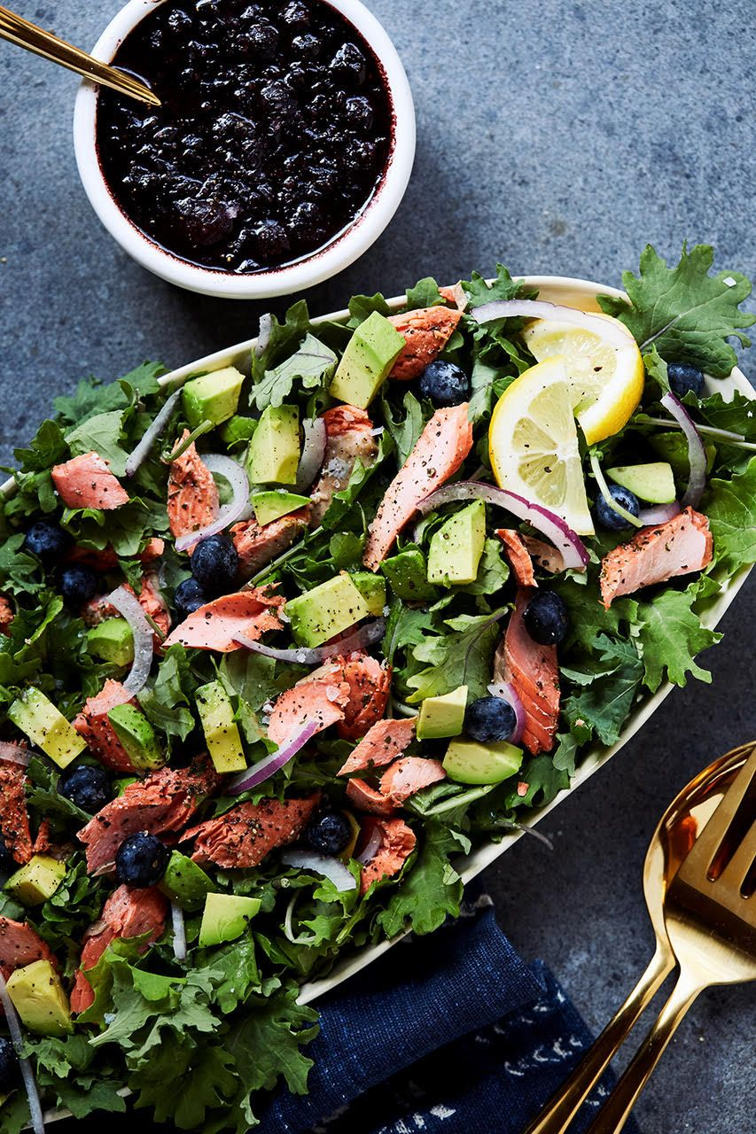 Kale and Roasted Salmon Salad with Blueberry Balsamic Vinaigrette