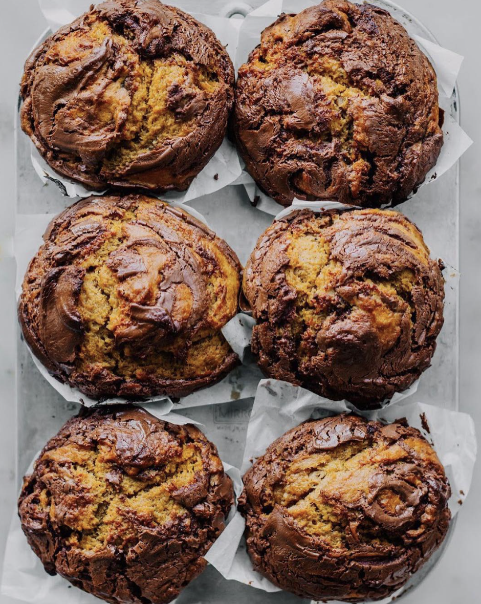 Chocolate Hazelnut Pumpkin Swirl Muffins
