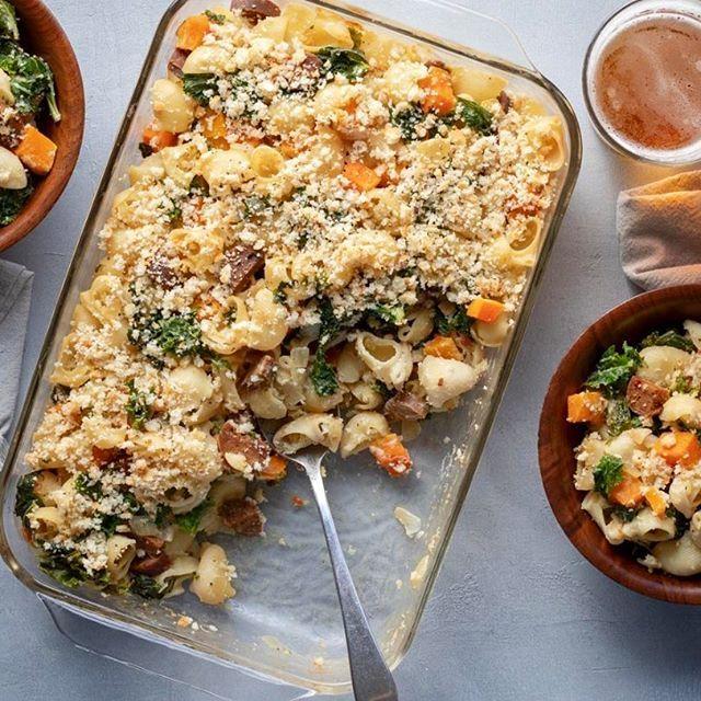 Vegan Pasta Bake With Sausage, Squash & Kale