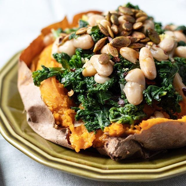 Lemony Kale and White Beans Stuffed Sweet Potatoes
