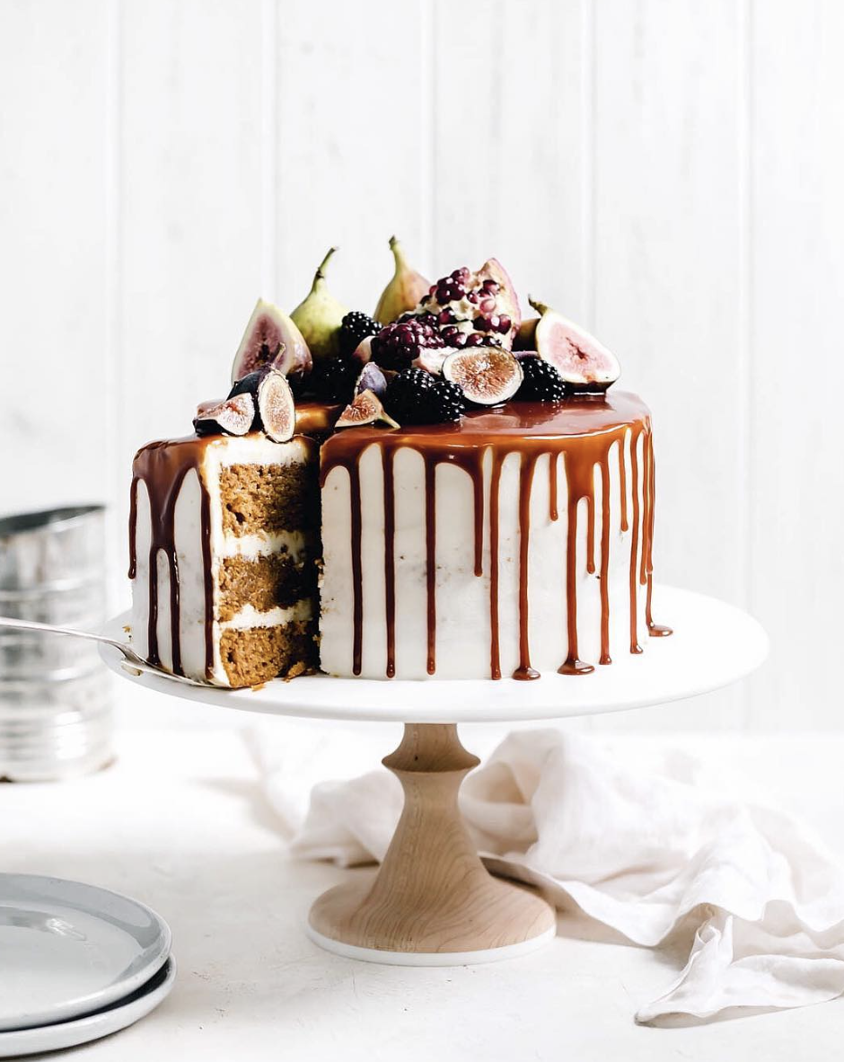 Pumpkin Layer Cake with Salted Caramel and Cream Cheese Frosting