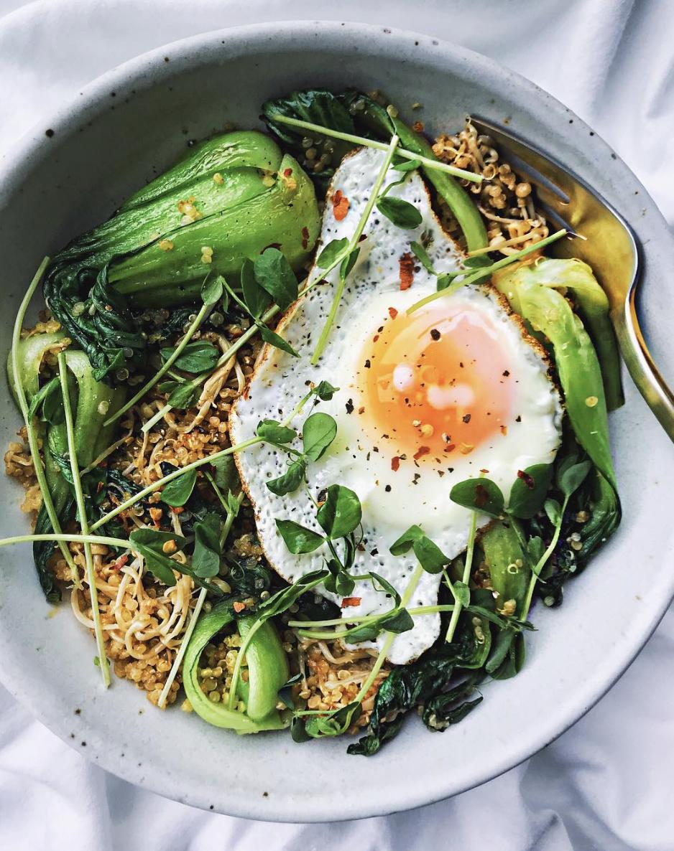 Quinoa and Fried Egg Veggie Bowl