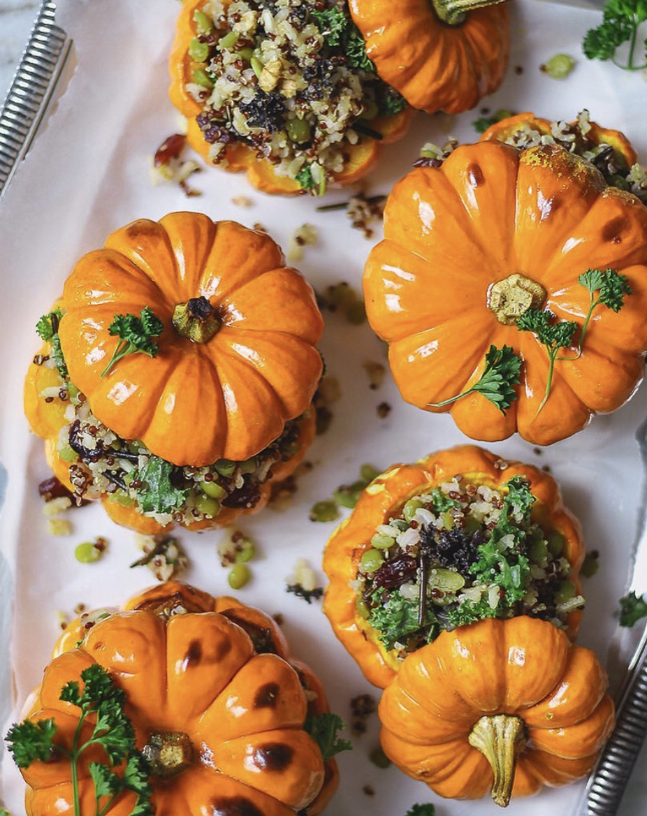 Wild Rice and Kale Stuffed Pumpkins