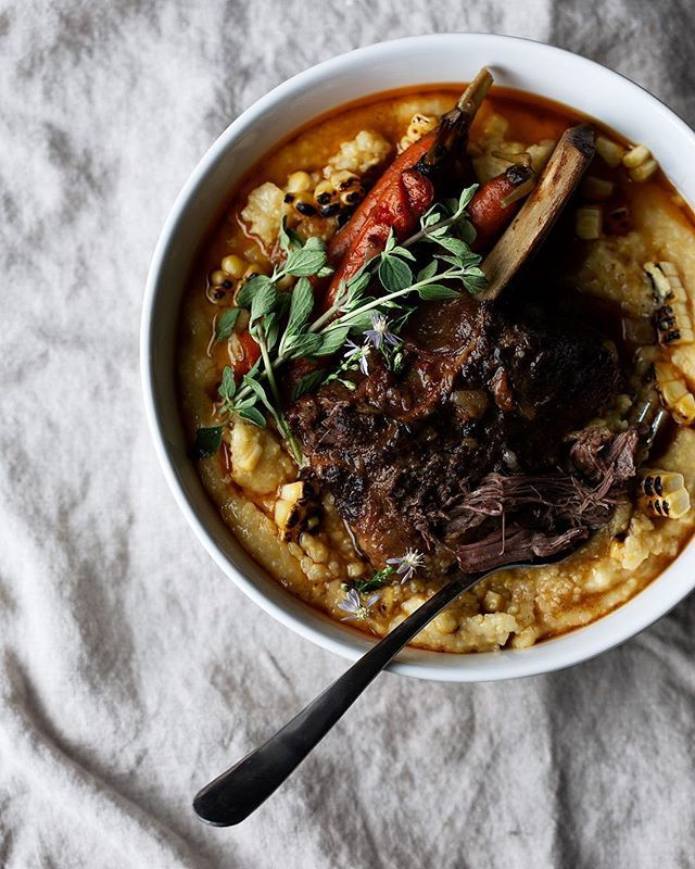Braised Short Ribs in Citrus Chili with Charred Corn Polenta and Vegetables