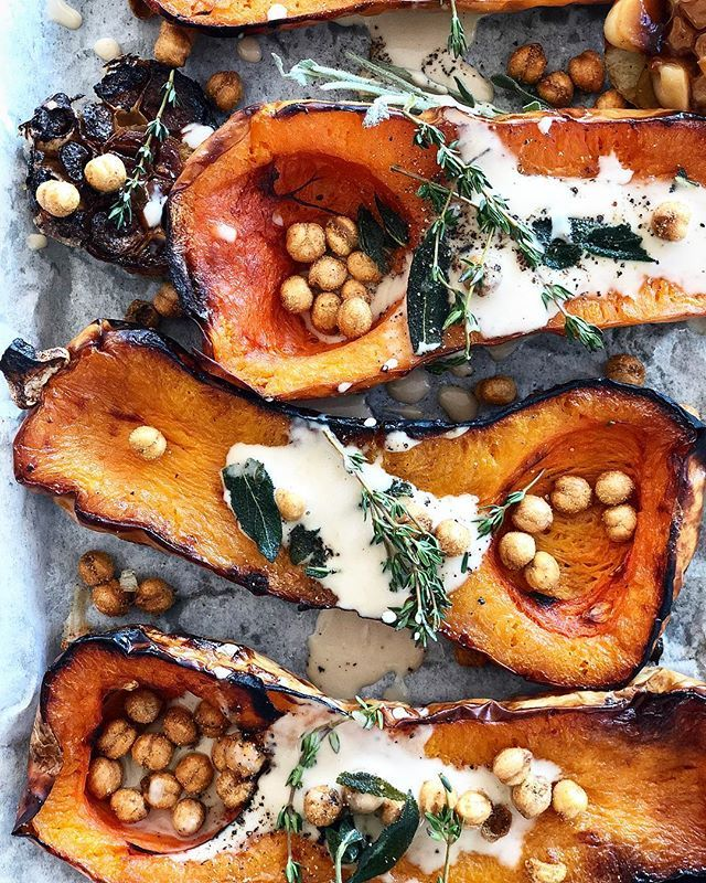 Roasted Butternut Squash with Maple Tahini Dressing