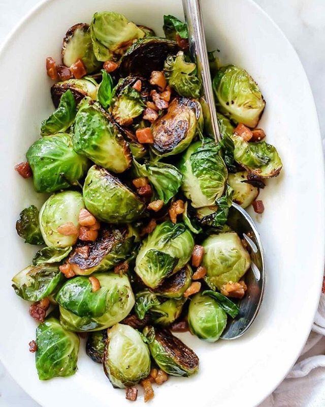 Maple Balsamic Glazed Roasted Brussels Sprouts With Pancetta