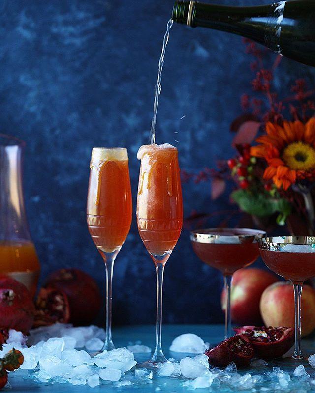 Pomegranate Apple Cider Mimosas